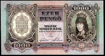 Hungary. 1,000 Pengo, 052681, 24-2-1943,  Almost Uncirculated-Uncirculated.