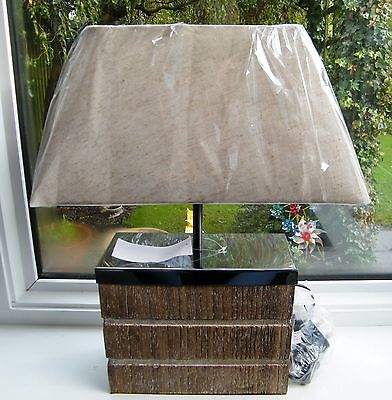 Shabby Chic Textured Wood & Chrome Block Table Lamp with Oatmeal Shade