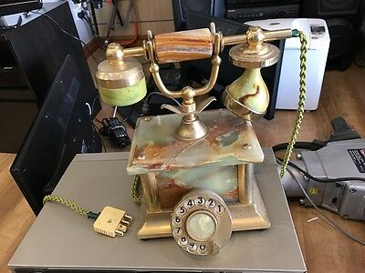 Vintage Marble Rotary Dial Desk Phone