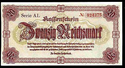Germany. Sudetenland, 20 Reichsmark,  AL 024375, 28-4-1945, Almost Uncirculated.