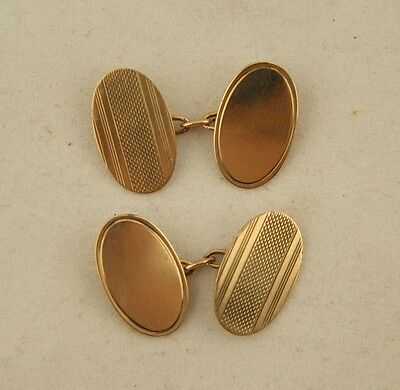 Pair Antique English Hallmarked Solid 9ct Rose Gold Mens Cuff Links NOT SCRAP