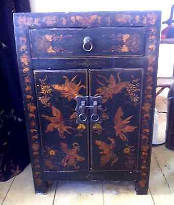 Black and gold antique chinese butterfly cabinet