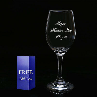 Personalised Engraved Wine Glass Father Mother Anniversary Birthday Gifts + Box