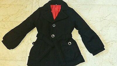 Girls coat black belt waist winter
