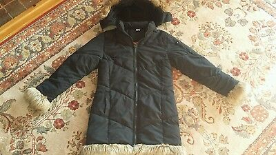 Girls long winter coat black fur edged hood