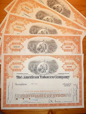 US: TABAK: American Tobacco Company, 5 St. 100 Shares, orange, 1964/ 1966*
