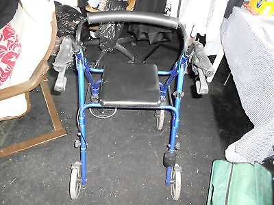 lightweight folding aluminium 4 wheeled WheelTech walker mobility aid With Seat