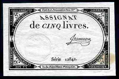 France. Five Livres, series 12842, (31.10.1793), Very Fine-Extremely Fine.