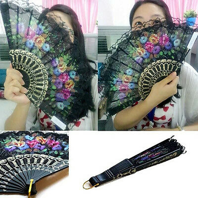 Spanish Floral Fabric Lace Folding Hand Dancing Wedding Party Decor Fan Showy