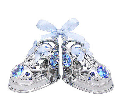 Crystocraft Baby Shoes - Silver/Blue - Swarovski Ornament
