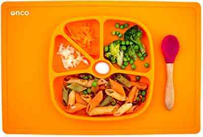 Onco Baby Placemat Two In One Silicone Suction Plate and Mat Baby Feeding Kit