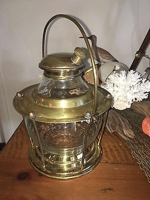 Boat Maritime Train Brass And Glass Lantern Vintage Overall Nice Decanter