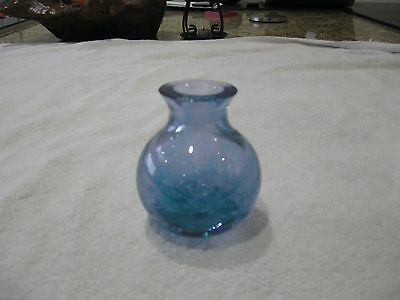 Small Blue Caithness Glass Vase with White Swirl