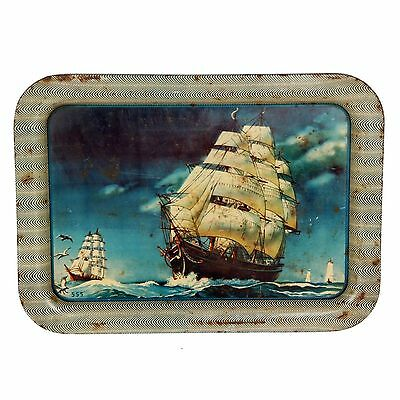 Beer Asian Antiques Tin Old Serving Trayof Sailing Ship Litho Print 237