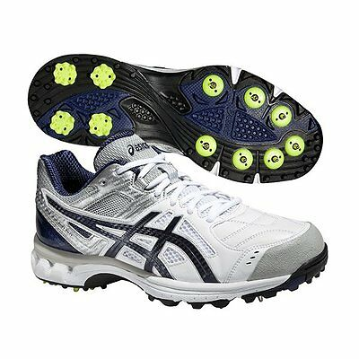 2016 Asics Gel 220 Not Out White Blue Cricket Spikes Sizes UK 6-13 (P528Y-0149)