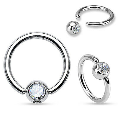 Gem Surgical Steel Captive Bead Ring Nose Ring Tragus Lip Belly Nipple Ring