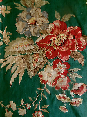 Antique French or English  Tree of Life Floral Cotton Fabric ~ Deep Green Red