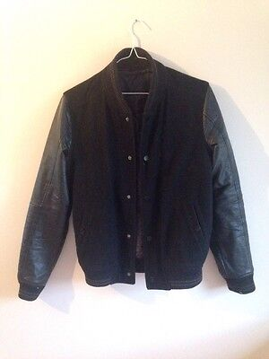 Black Letterman Bomber Jacket Wool Leather // American Apparel Topman Norse Huf