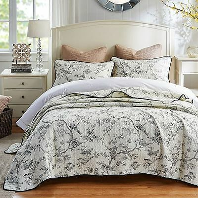 Quilted 100% Cotton Coverlet / Bedspread Set Queen King Size Bed 230x250CM Bird