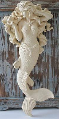 Flowing Hair MERMAID with Starfish Necklace *Beach Decor Wall Sculpture (Item A)