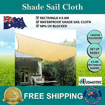 New Waterproof Shade Sail Rectangle 4 x 6M Sand Beige Colour Heavy Duty 180GSM