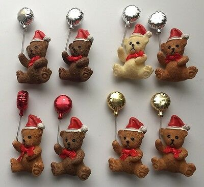 8 Christmas bear brooches with balloons job lot 6 different children kids