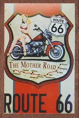 ROUTE 66 THE MOTHER ROAD Wooden Fridge Magnet Rock Merchandise