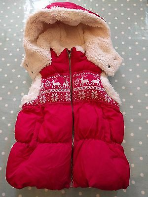 Next Girls Red Fairisle Hooded Gilet 7-8 Years (128cm) In Immaculate Condition!