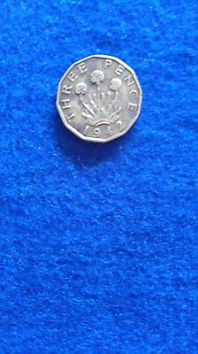 GEORGE VI 3d  THREEPENNY BIT COIN 1942