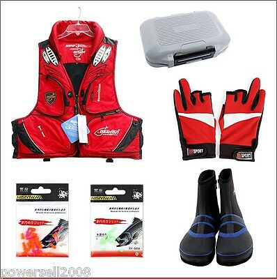 Practical Fishing Set Slip Shoes / Life Jacket / Gloves / Carry Box / 2 Parts