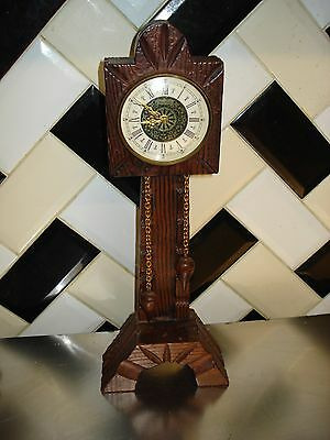 """Vintage WOODEN 14"""" TALL Splendex Wind up Clock West Germany LIKE GRANDFATHER"""