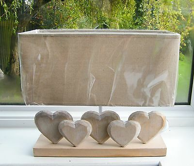 Shabby Chic 5 Heart Wooden Oblong Table Lamp with Rustic Linen Shade