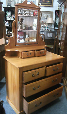 Antique stripped pine dressing table vanity unit with mirror