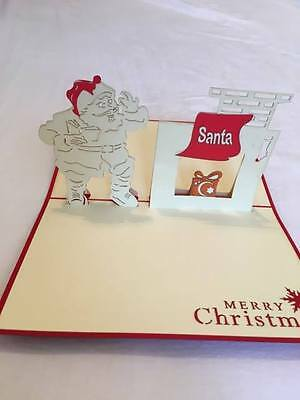 Unique handmade Pop Up Origami Card for Christmas- Santa and Chimney