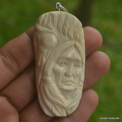 Horse Indian Carving 63x33mm Pendant P1313 w/ Silver in Antler Carved