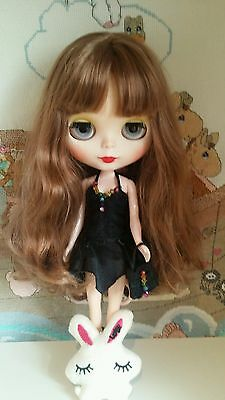 Ooak Customised Blythe doll, red eyes, outfit and bear of her own! UK SELLER