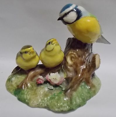 "Great Porcelain Bird Figurine Group ""Blue Tit With Chicks"" Royal Crown Derby"
