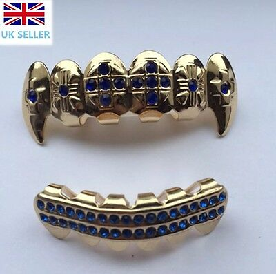 Gold Plated 14k Fang Grillz Blue Stones Teeth Mouth Grills Top Bottom Rap