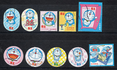 2016 Used Greetings DORAEMON 82yens 10 diff. stamps. Latest!! 69