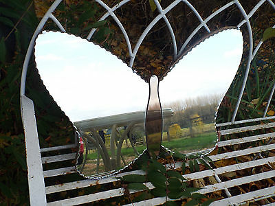 Vintage 1930's Art Deco Butterfly Mirror Scalloped Edge Wall Hanging & Chain
