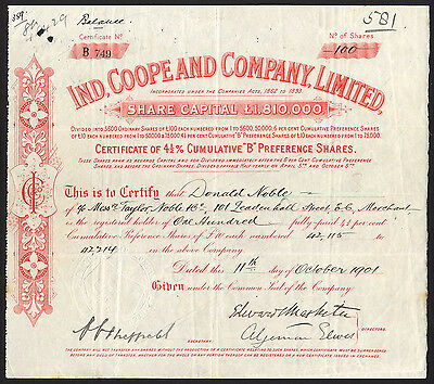 Ind, Coope and Company, Ltd., £10 Pref. shares, 1901.