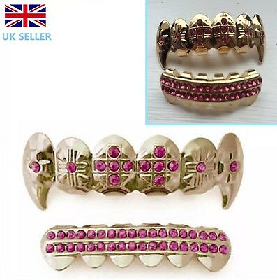 Gold Plated 14k Fang Grillz  Pink Stones Teeth Mouth Grills Top Bottom Rap