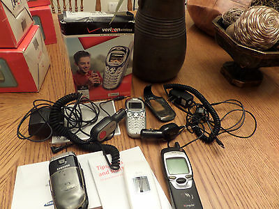 Assortment of old cell phones and accessories; verizon, samsung, nokia, att-etc