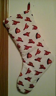 Fireman Firefighter Heroes red hats   Handmade lined Christmas Stocking