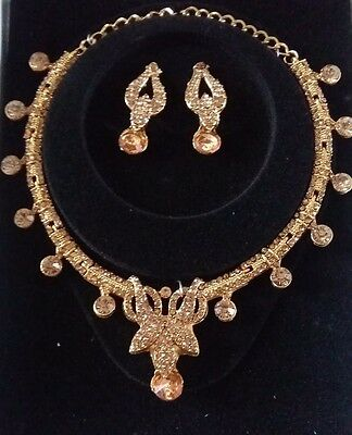 New Bollywood Style Indian Costume Jewellery Necklace Set Bronze Gold