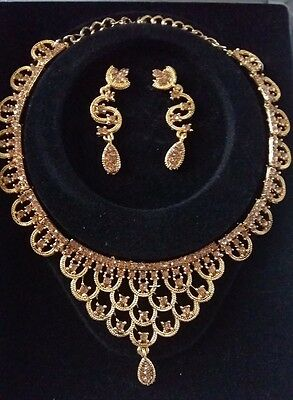 Indian Costume Jewellery Necklace New Bollywood Style Set Bronze Gold