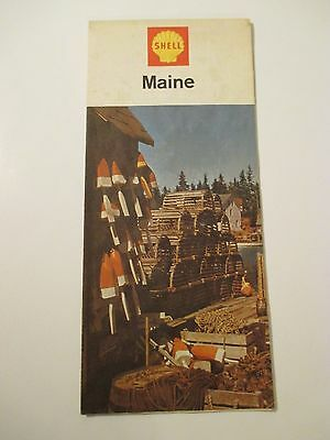 Vintage 1967 SHELL MAINE Oil Gas Station Road Map