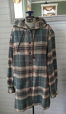 VTG Eddie Bauer Woman's SZ M Button-Down Flannel Hooded Green Plaid Hipster