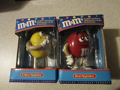 Lot of 2 M&M Nightlites - one each Yellow and Red - New old stock