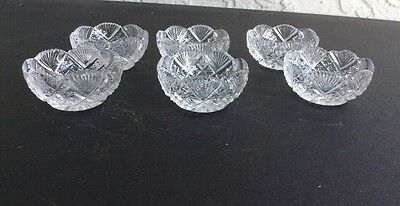 Open Salt Dishes  American Brilliant Cut Glass Individual Strawberry Fan Pattern